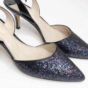 Boden Slingback Black Glitter Iridescent Heel 41.5